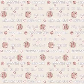 Pink gray vintage cream worn  baseball  stars and text  LARGE986