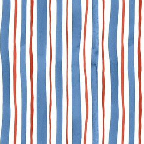 Blue and Red Vertical Watercolor Stripes