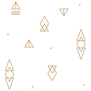 Large Scale - Caramel Tan Geo Triangles on White