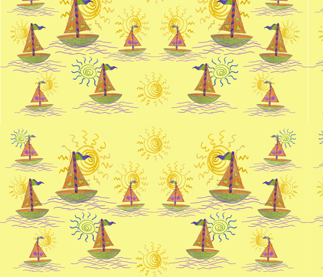 Wallpaper boats fabric by snarets on Spoonflower - custom fabric