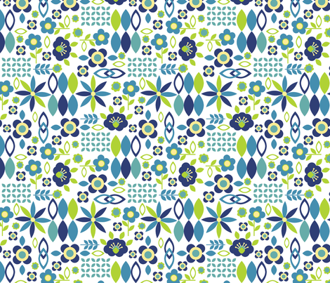 Folk Art Flowers, Navy, medium fabric by palifino on Spoonflower - custom fabric