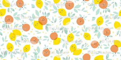 Lemons and grapefruits in white