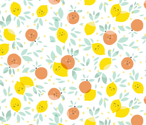 Lemons and grapefruits in white fabric by tatiabaurre on Spoonflower - custom fabric