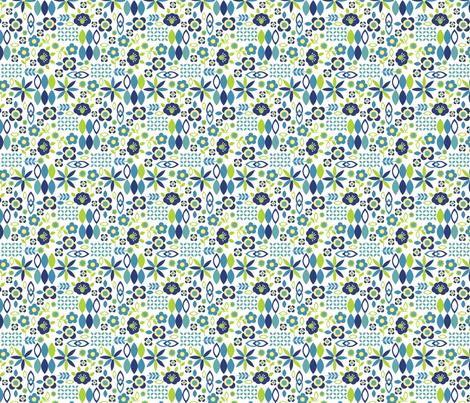 Folk Art Flowers, Navy, tiny fabric by palifino on Spoonflower - custom fabric