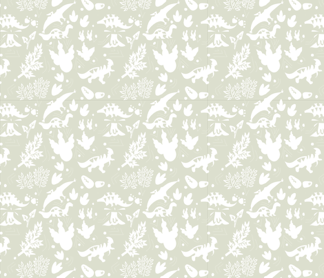 Neutralnurserydinosaur fabric by tabbykatprint on Spoonflower - custom fabric
