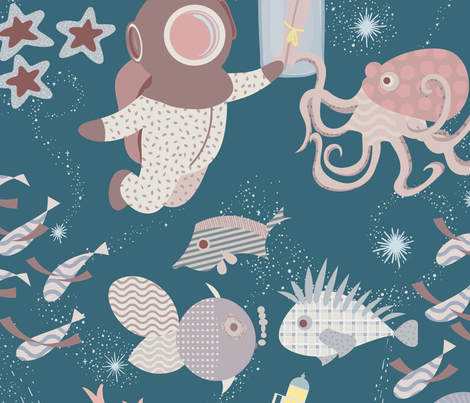 Space Ocean fabric by another_village on Spoonflower - custom fabric