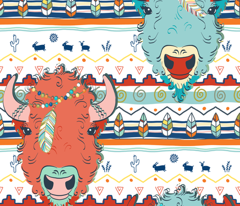 where the buffalo roam fabric by designed_by_debby on Spoonflower - custom fabric