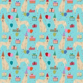 SMALL - golden retreiver birthday fabric - blue