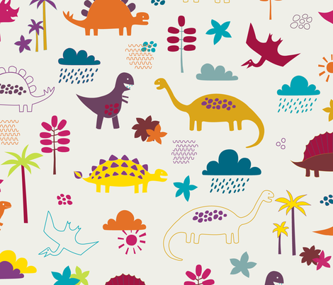 Dinosaur land - sunshine brights fabric by cecca on Spoonflower - custom fabric