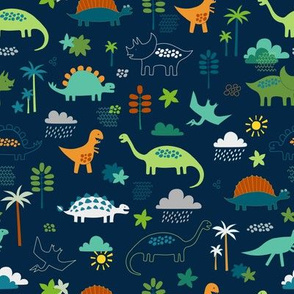 Dinosaur land - green, rust and navy