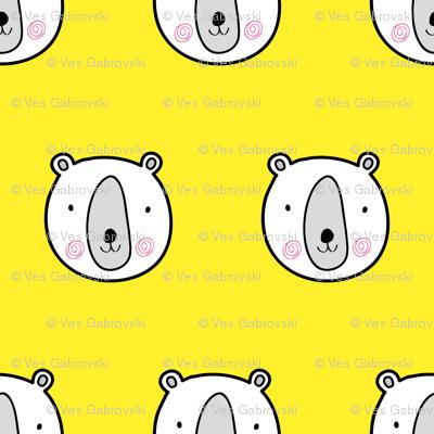 Yellow bears cute kids pattern