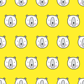 Yellow bears cute kids pattern