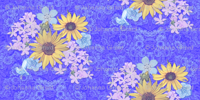 Mountain Wildflowers and Daisies on Blue