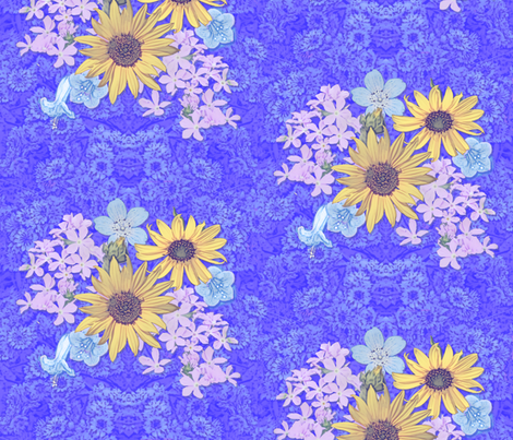 Mountain Wildflowers and Daisies on Blue fabric by hannatine on Spoonflower - custom fabric