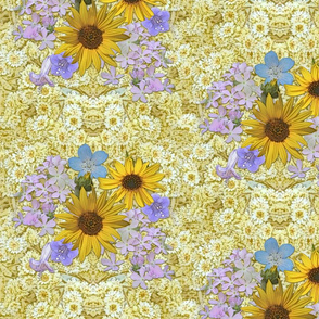 Mountain Wildflowers and Daisies on creamy yellow background