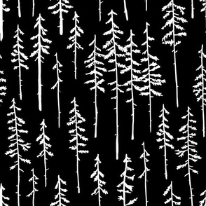 Woodland Forest Trees - Black