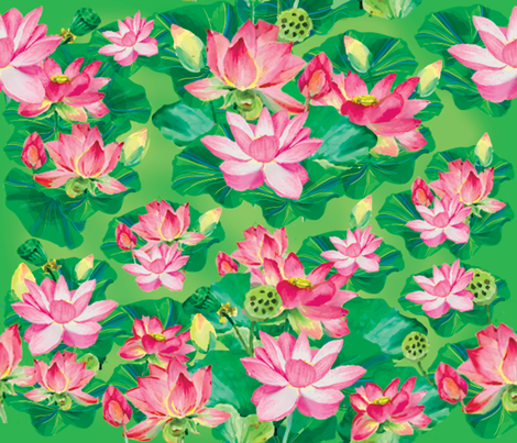 Lotus_Regular fabric by chiqdesign on Spoonflower - custom fabric