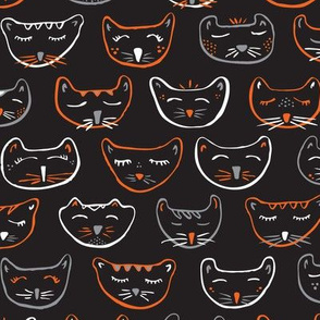 Sleepy Halloween Kitties in White & Orange on Black // Night Night, Sleep Tight // Don't Let the Halloween Costumes Give You a Fright