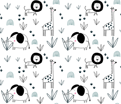 Safari Jungle elephant lion giraffe wallpaper fabric by paperandpickles on Spoonflower - custom fabric