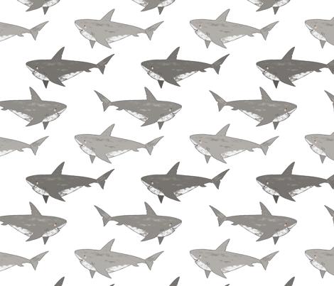 Shark Attack, cute sharks, novelty sharks fabric by red_raspberry_design on Spoonflower - custom fabric
