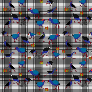 Pukeko and Takahe on grey plaid