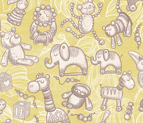 Jungle Wooden Toys fabric by helenpdesigns on Spoonflower - custom fabric