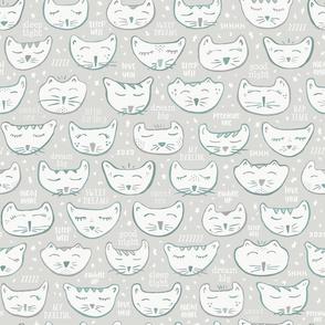 Gray Sleepy Kitties Nursery Wallpaper // Night Night, Sleep Tight, Precious One // Gender Neutral Baby Decor