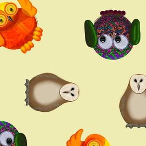 Toy owls on pale lemon