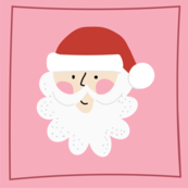 Santa Christmas Quilt Square in Pink