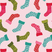 Christmas Stockings Pattern in Pink