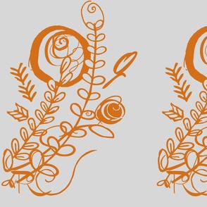 Scruffy font flowers in pumpkin on grey