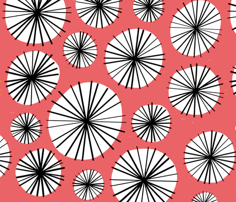 Floral circle geometric vintage red fabric by paperandpickles on Spoonflower - custom fabric