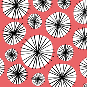 Floral circle geometric vintage red