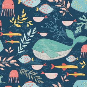 Swimming With the Fishies, Whale, Stingray, Jellyfish, Fish design