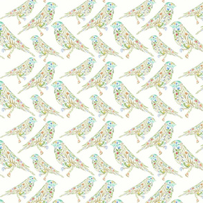 Flowerbirds watercolor pattern on white