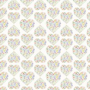 Flowerhearts watercolor pattern on white