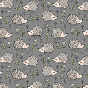 Hedgehog with Leaves and Flowers on Dark Grey Smaller 1,5 inch