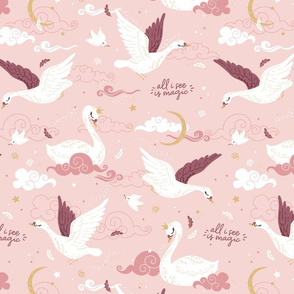 All I see is magic - swan - pink