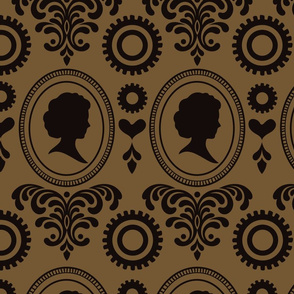 """24"""" Steampunk Vintage Cameo Damask with Gears & Hearts in Black and Brown-Gold"""