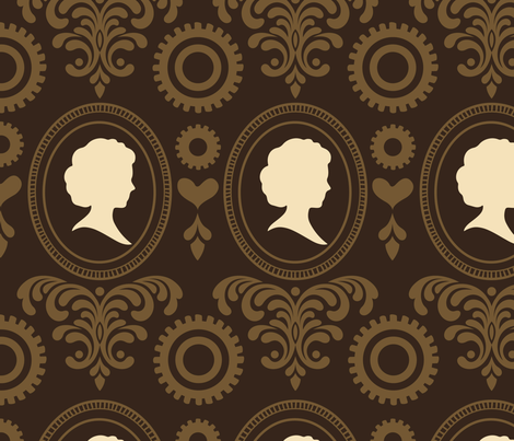 """24"""" Steampunk Vintage Cameo Damask with Gears & Hearts in Brown and Brown-Gold fabric by chiqdesign on Spoonflower - custom fabric"""