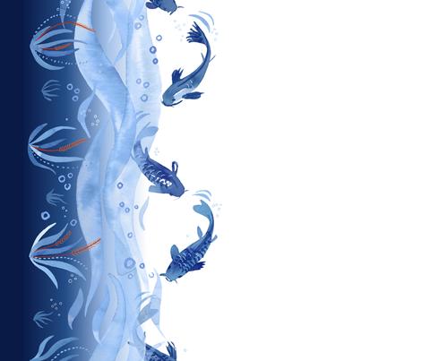 Koi Fish Dance Border Print fabric by marketa_stengl on Spoonflower - custom fabric