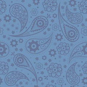 Steampunk Paisley with Flowers and Gears in Periwinkle Blue.