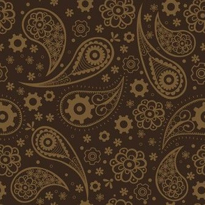 Steampunk Paisley with Flowers and Gears in Dark Brown and Gold.