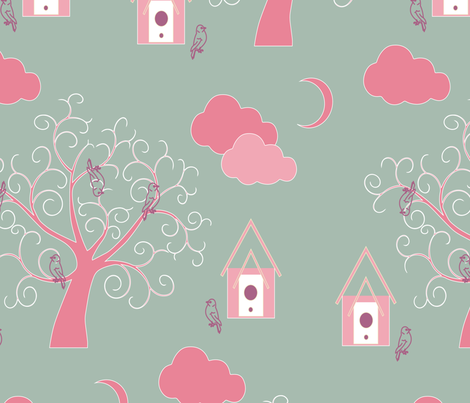 sweet birds on tree fabric by sissi-tagg on Spoonflower - custom fabric