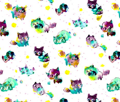 pattern-green-purple-cat-spoonflower fabric by little_laughing_studio on Spoonflower - custom fabric