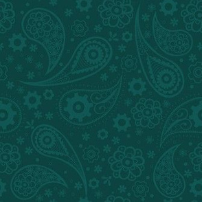 Steampunk Paisley with Flowers and Gears in Lagoon Green
