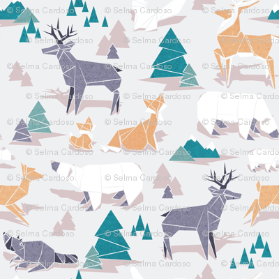 Origami woodland I // large scale // beige background orange teal white and violet animals