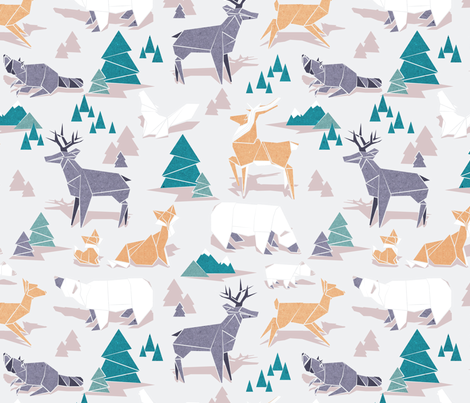 Origami woodland I // large scale // beige background orange teal white and violet animals fabric by selmacardoso on Spoonflower - custom fabric
