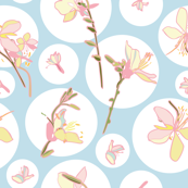 Blue floral pattern with white dots & lily