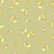 Mustard floral repeat pattern with tiny blossoms